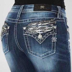 New!!Miss Me angel wings easy bootcut jeans 34 32